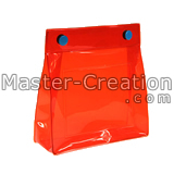 red pvc bag with snap closure