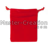red flocked velvet pouch