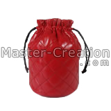 red quilted drawstring bag