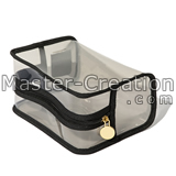 clear pvc bag with black binding